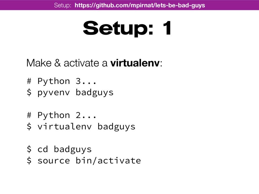 Setup: 1 Make & activate a virtualenv: # Pytho...