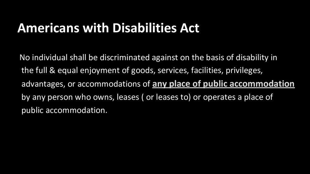 Americans with Disabilities Act No individual s...