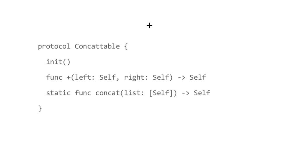 + protocol Concattable { init() func +(left: Se...