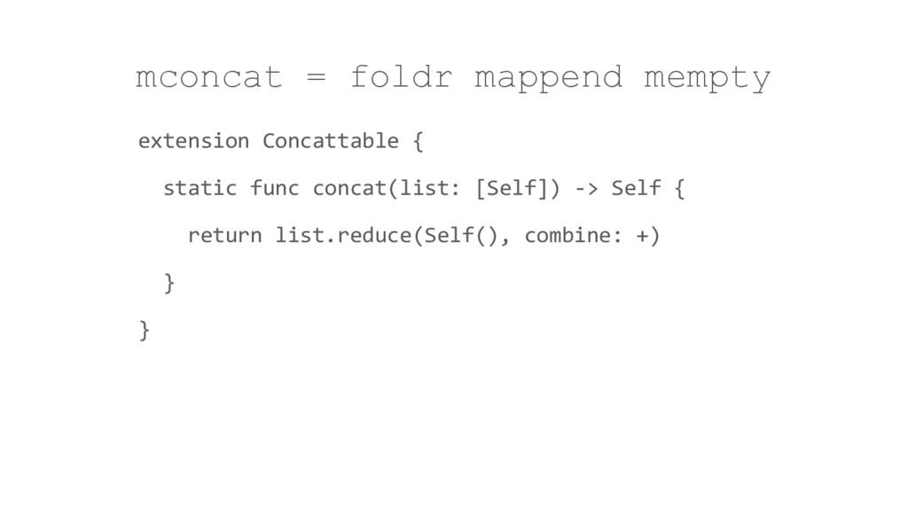 mconcat = foldr mappend mempty extension Concat...