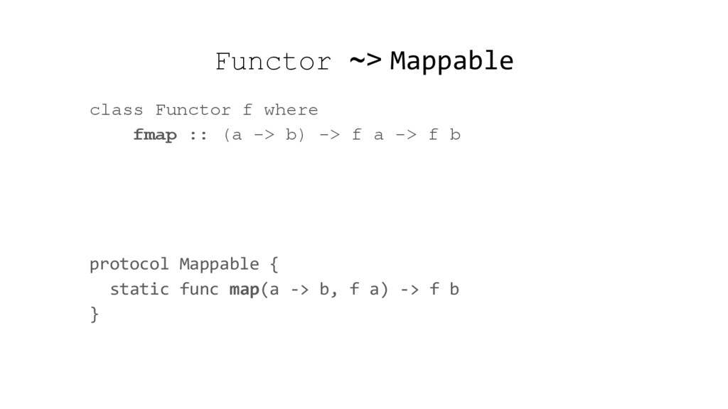 Functor ~> Mappable class Functor f where fmap ...
