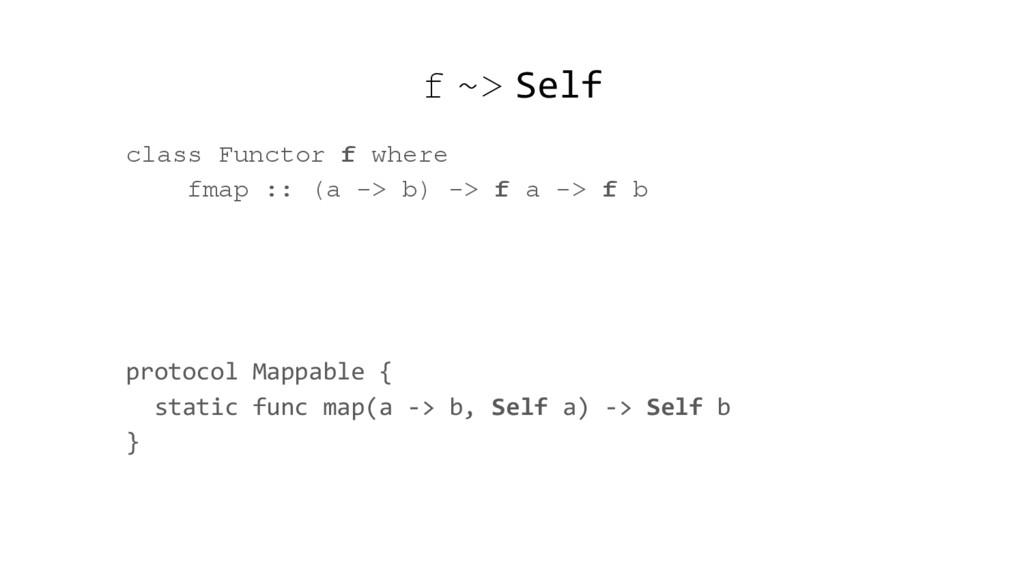 f ~> Self class Functor f where fmap :: (a -> b...