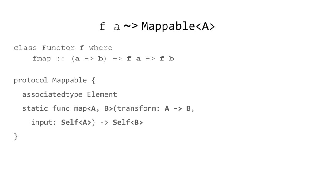 f a ~> Mappable<A> class Functor f where fmap :...