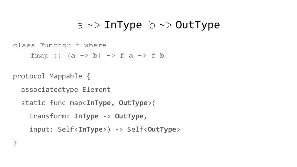 a ~> InType b ~> OutType class Functor f where ...