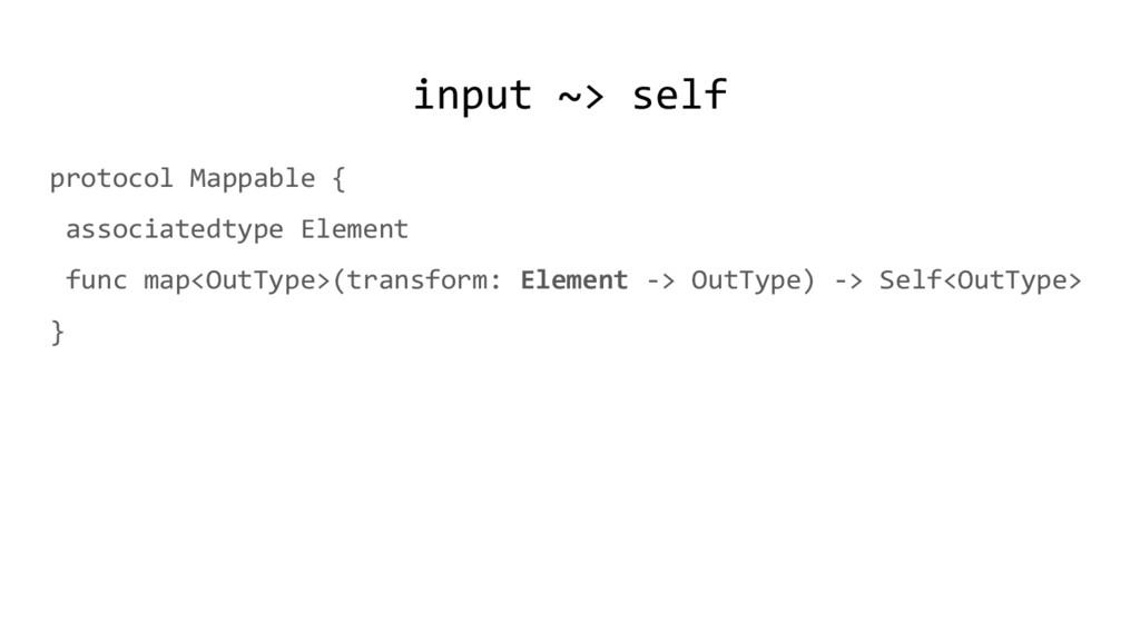 input ~> self protocol Mappable { associatedtyp...