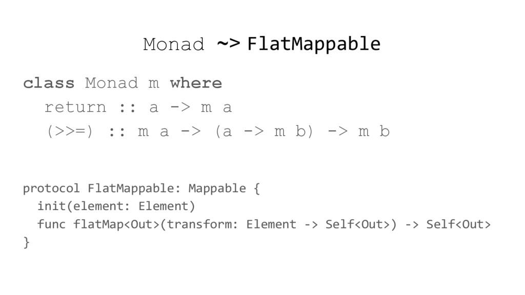 Monad ~> FlatMappable class Monad m where retur...