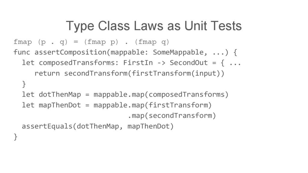 Type Class Laws as Unit Tests fmap (p . q) = (f...