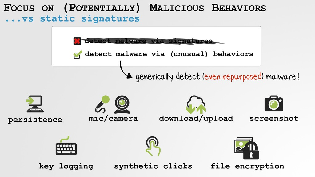 detect malware via (unusual) behaviors detect m...