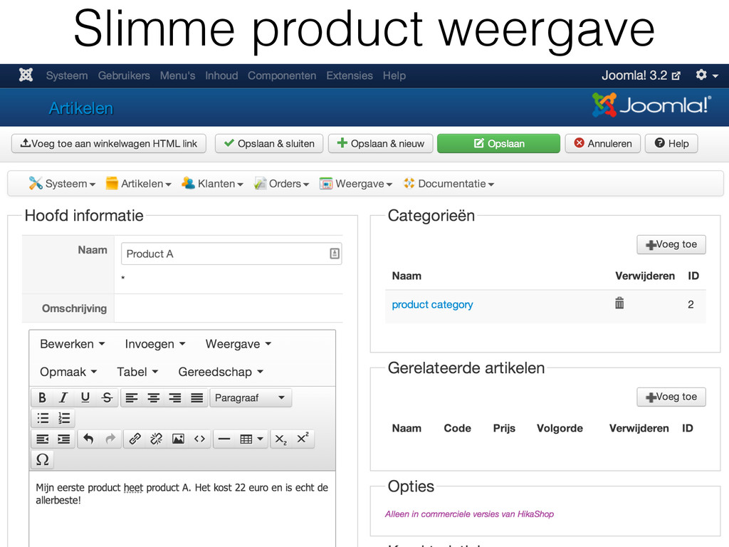 Slimme product weergave