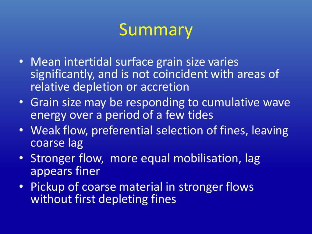 Summary • Mean intertidal surface grain size va...