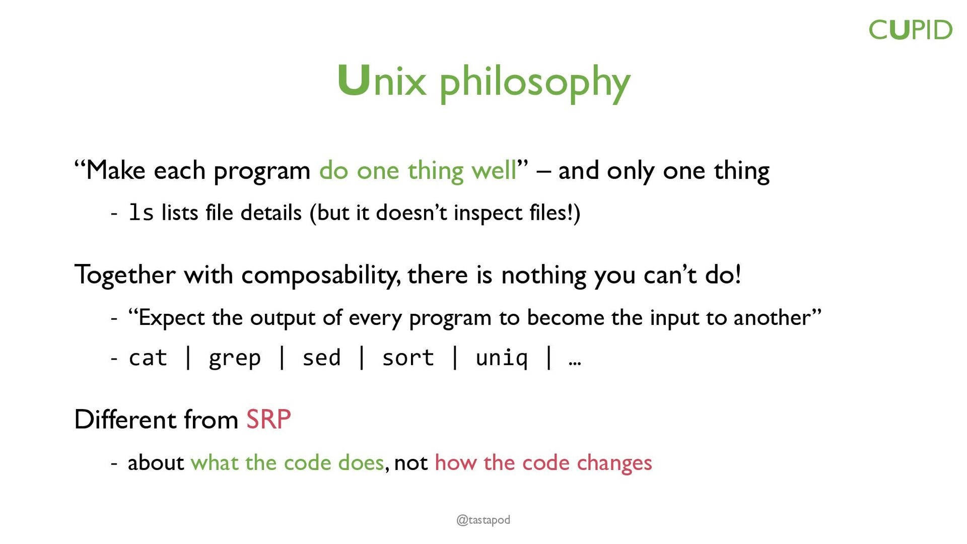 CUPID – for joyful coding Composable – plays we...