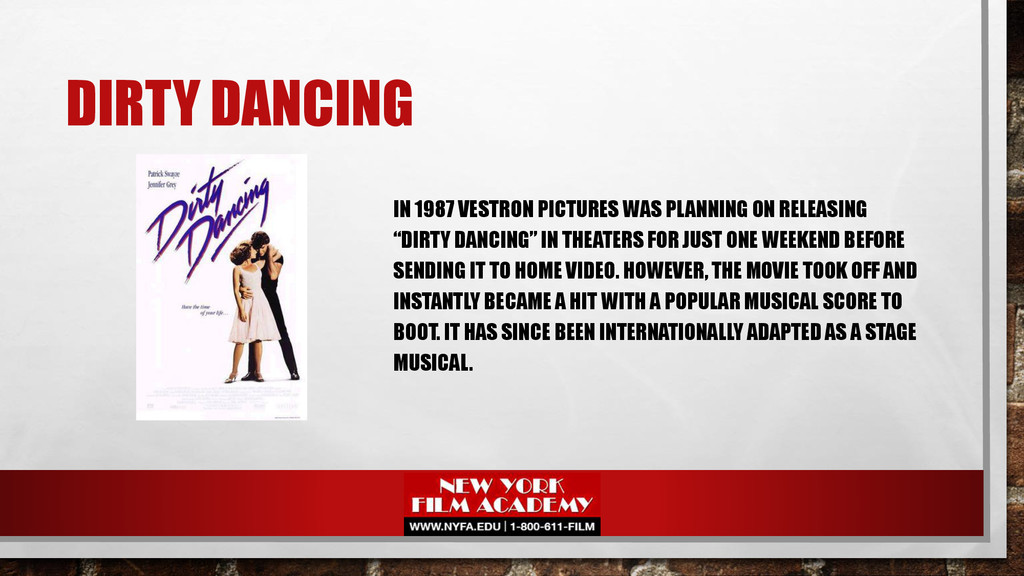 DIRTY DANCING IN 1987 VESTRON PICTURES WAS PLAN...
