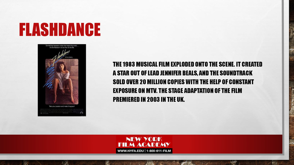 FLASHDANCE THE 1983 MUSICAL FILM EXPLODED ONTO ...