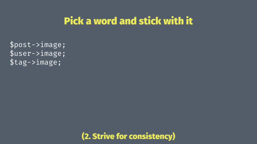 Pick a word and stick with it $post->image; $us...