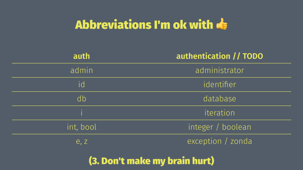 Abbreviations I'm ok with ! auth authentication...