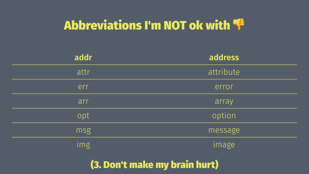 Abbreviations I'm NOT ok with ! addr address at...