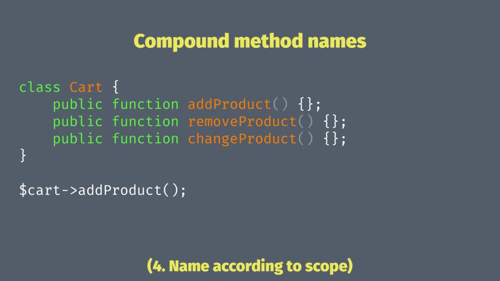 Compound method names class Cart { public funct...