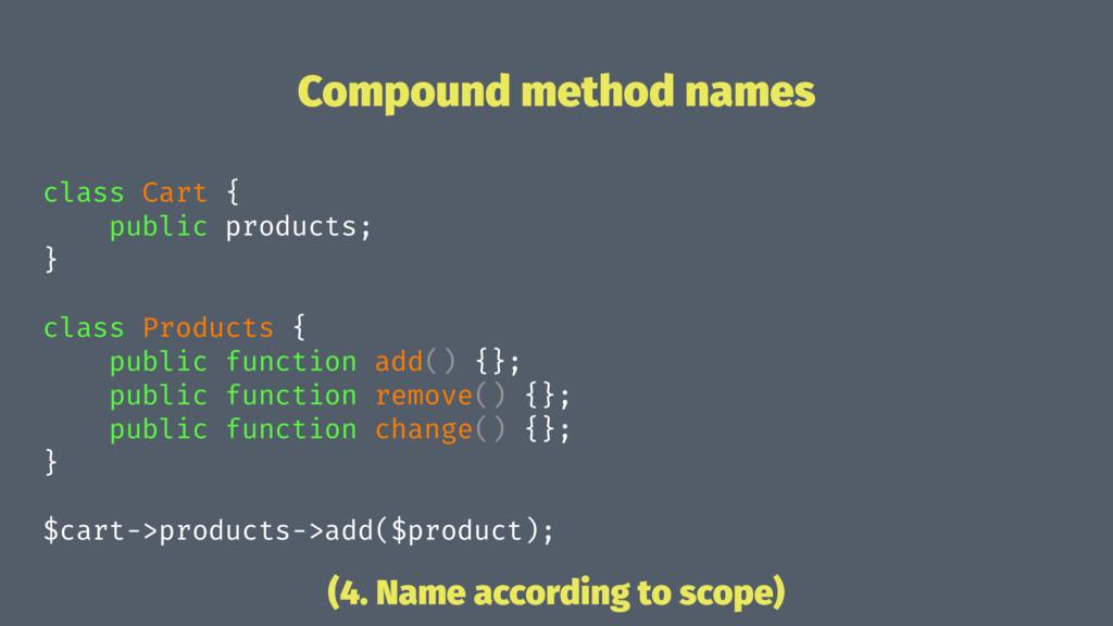 Compound method names class Cart { public produ...