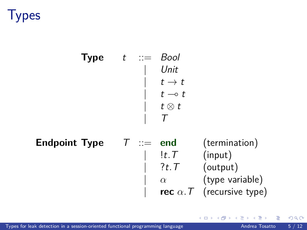 Types Type t ::= Bool | Unit | t → t | t t | t ...