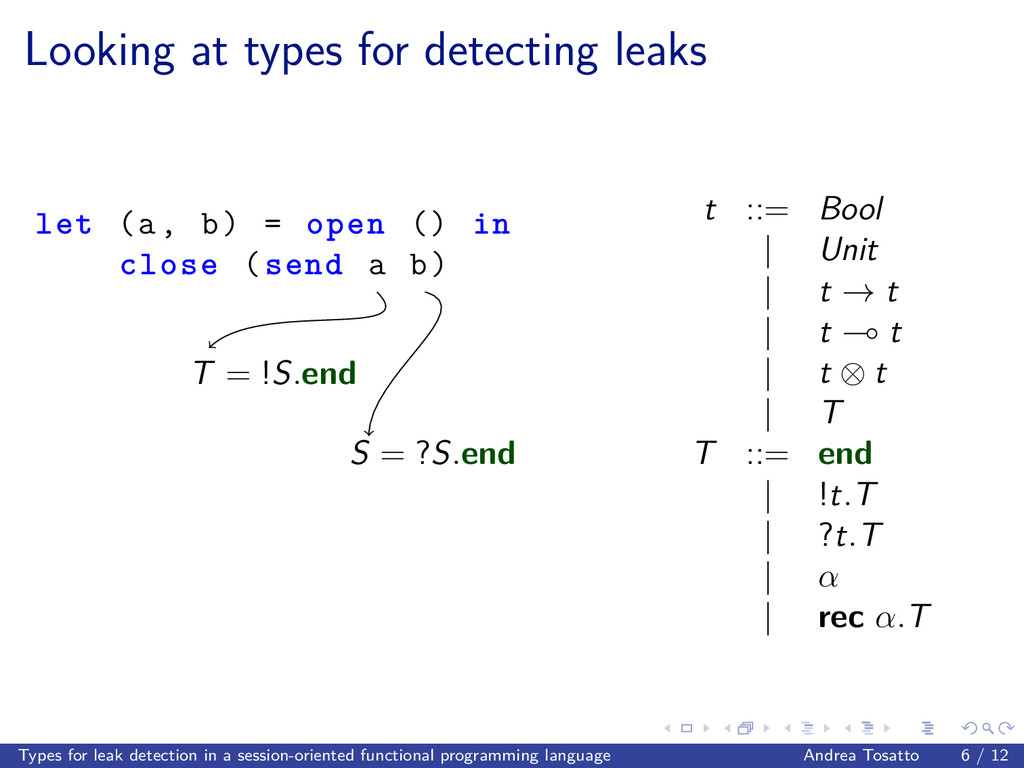Looking at types for detecting leaks let (a, b)...