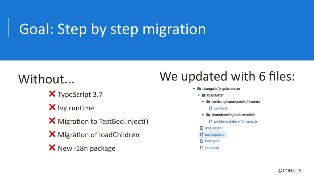 Goal: Step by step migration ❌ TypeScript 3.7 ❌...