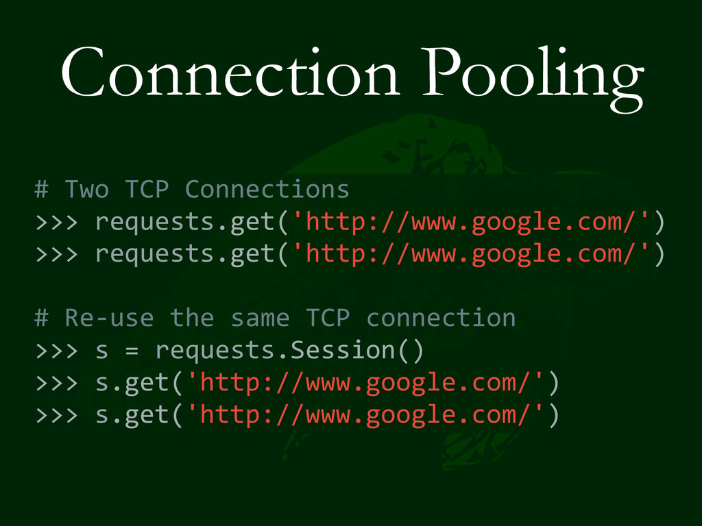 Connection Pooling # Two TCP Connectio...
