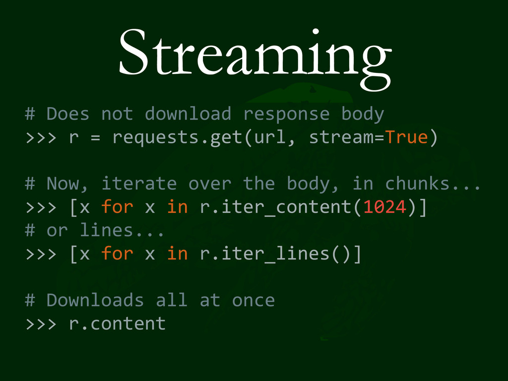 Streaming # Does not download respo...