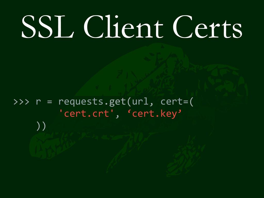 SSL Client Certs >>> r = requests.get(...