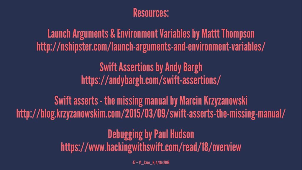 Resources: Launch Arguments & Environment Varia...