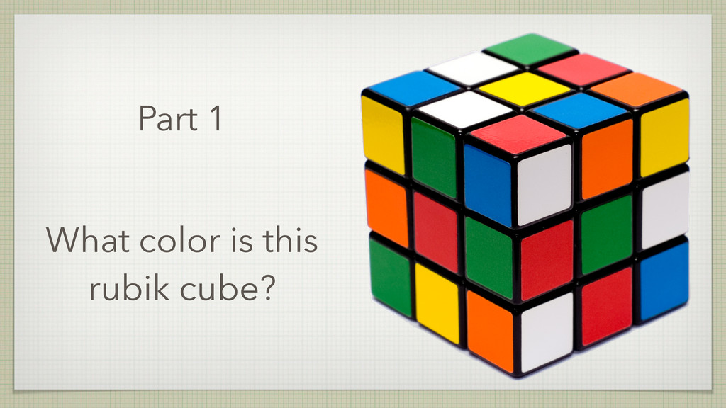 Part 1 What color is this rubik cube?