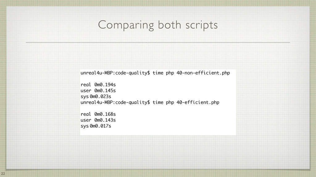 Comparing both scripts 22 unreal4u-MBP:code-qua...