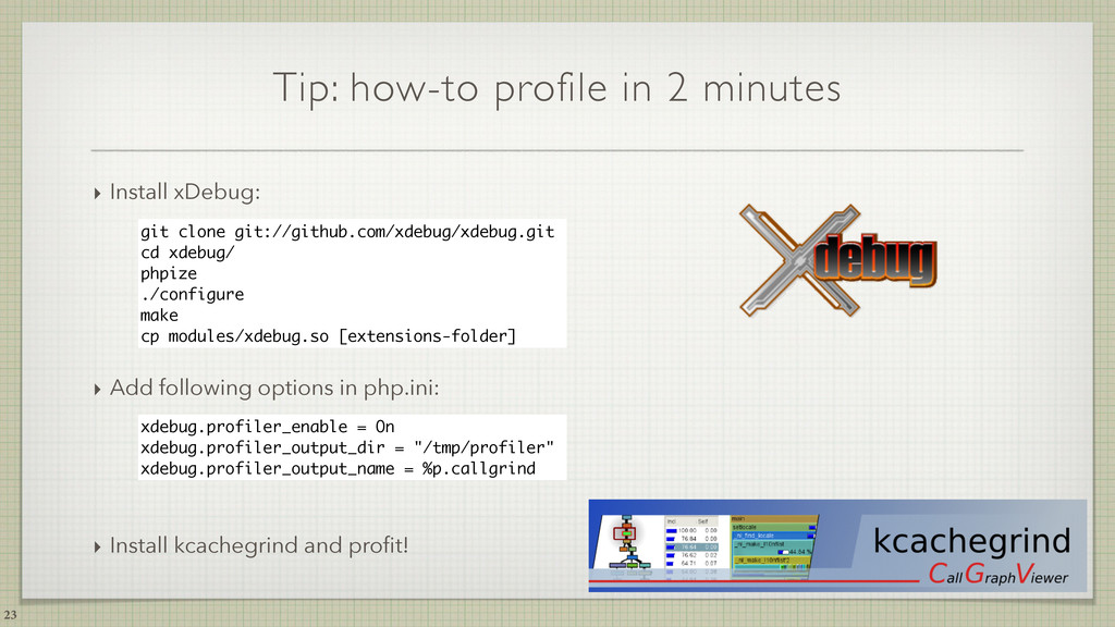 Tip: how-to profile in 2 minutes 23 git clone g...