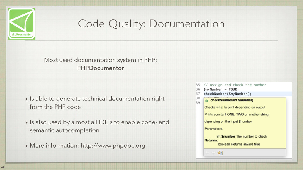 Code Quality: Documentation Most used documenta...