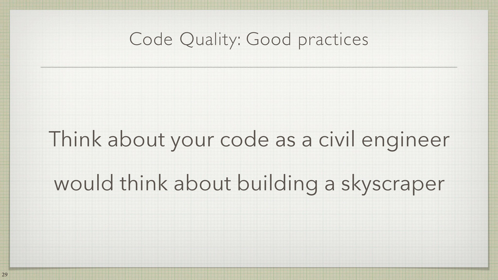 Code Quality: Good practices Think about your c...