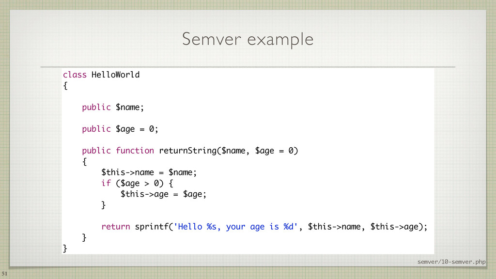 Semver example 51 class HelloWorld { public $na...
