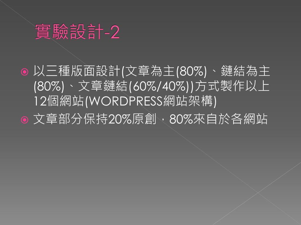  以三種版面設計(文章為主(80%)、鏈結為主 (80%)、文章鏈結(60%/40%))方式...