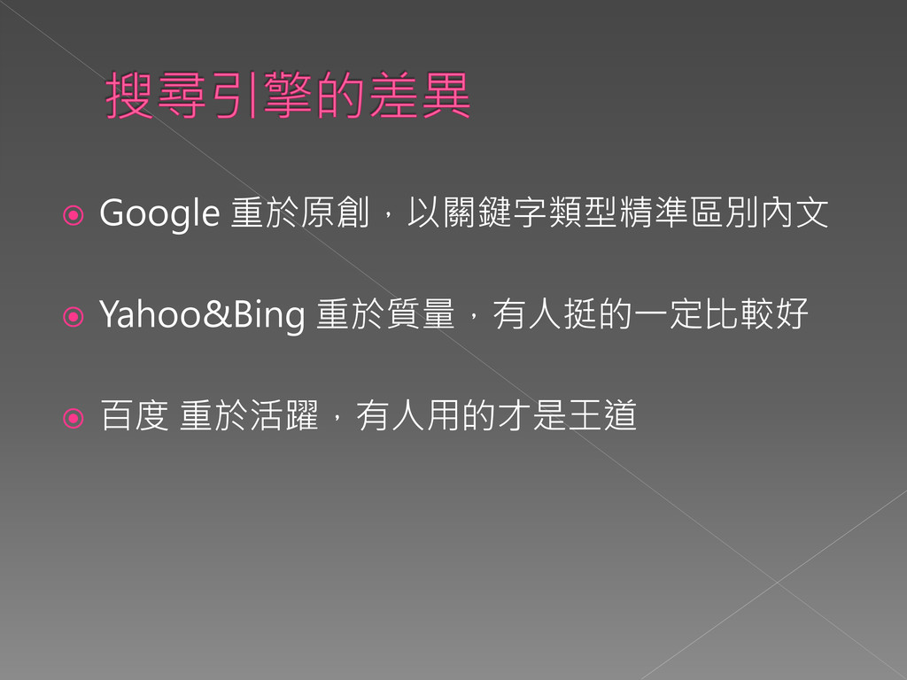  Google 重於原創,以關鍵字類型精準區別內文  Yahoo&Bing 重於質量,有人...