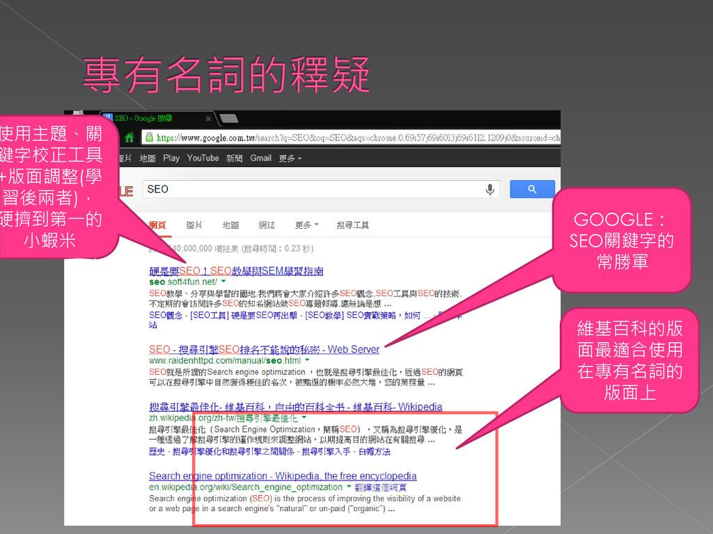 維基百科的版 面最適合使用 在專有名詞的 版面上 GOOGLE: SEO關鍵字的 常勝軍 使用...