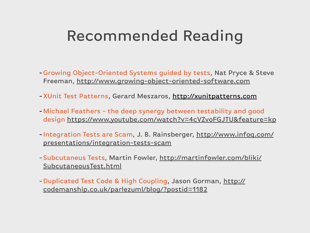 Recommended Reading -Growing Object-Oriented Sy...