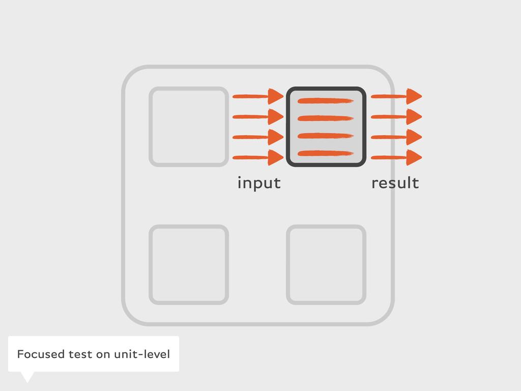 input result Focused test on unit-level