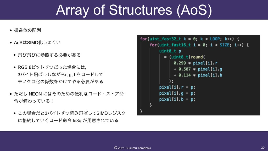 Array of Structures (AoS) • ߏମͷྻ   • AoSSIMD...