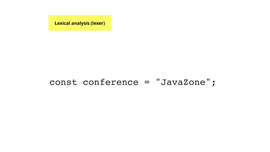 """const conference = """"JavaZone""""; Lexical analysis..."""