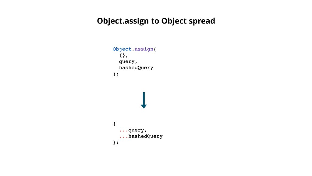Object.assign( {}, query, hashedQuery ); Object...