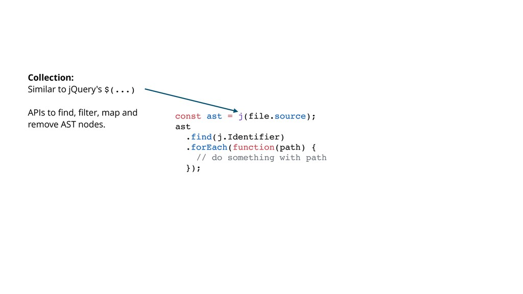 const ast = j(file.source); ast .find(j.Identif...