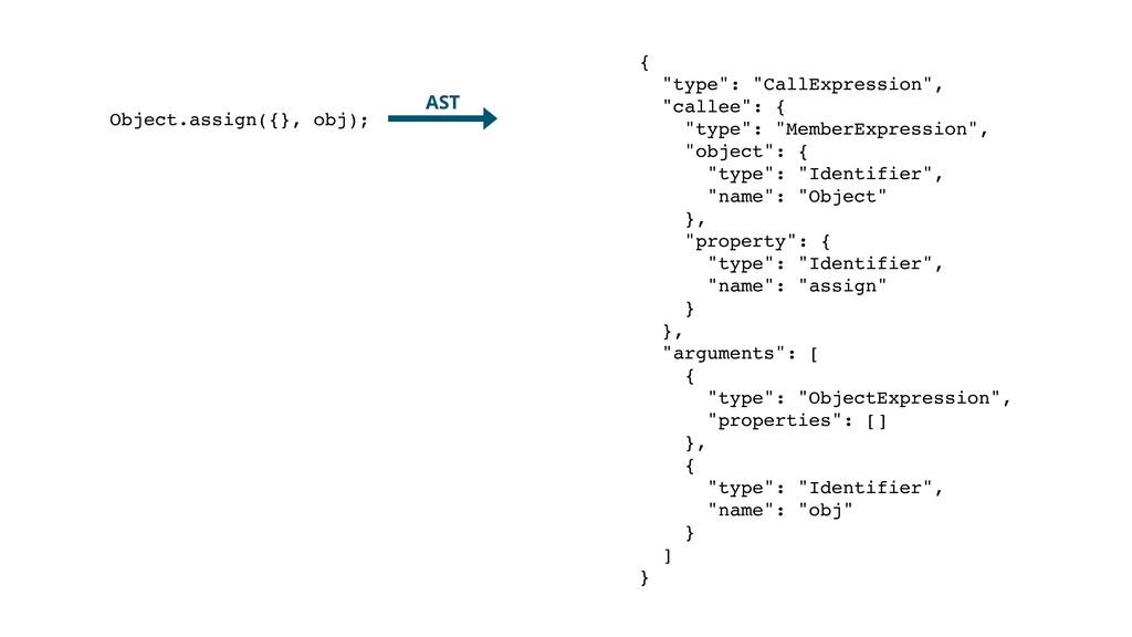 """Object.assign({}, obj); AST { """"type"""": """"CallExpr..."""
