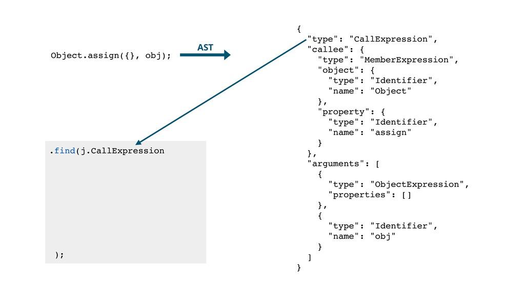 .find(j.CallExpression ); Object.assign({}, obj...