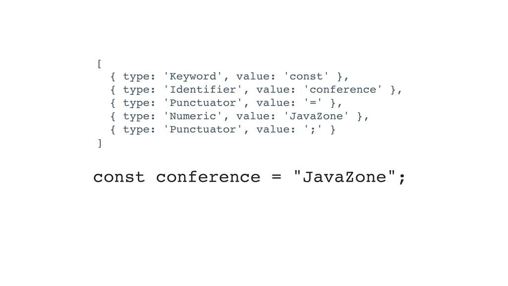[ { type: 'Keyword', value: 'const' }, { type: ...